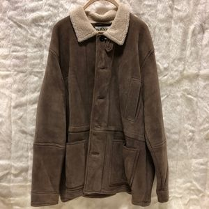 Mens XXL Leather Tan Sherpa Lined Coat